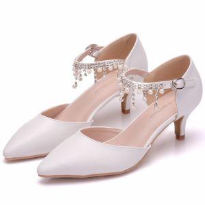 Mooie / Prachtige Witte Bruidsschoenen 2018 Parel Rhinestone Kwast 5 cm Naaldhakken / Stiletto Spitse Neus Huwelijk Hoge Hakken