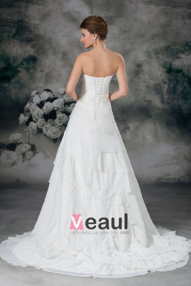 Sweetheart Layered Beading Chiffon Floor Length Court Train A Line Wedding Dress