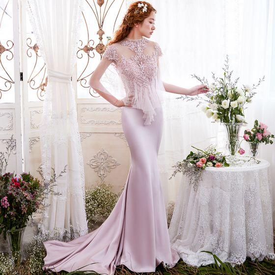 Elegant Blushing Pink Evening Dresses  2017 Trumpet / Mermaid Lace Flower Sequins Scoop Neck Backless 1/2 Sleeves Court Train Formal Dresses