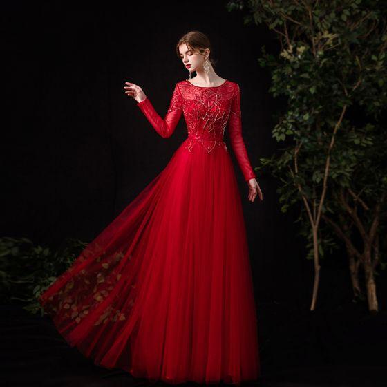 Wysokiej Klasy Czerwone Taniec Sukienki Na Bal 2020 Princessa Przezroczyste Wycięciem Długie Rękawy Szarfa Frezowanie Rhinestone Długie Wzburzyć Sukienki Wizytowe