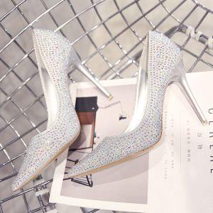 Scintillantes Argenté Chaussure De Mariée 2019 Cuir Faux Diamant Paillettes 10 cm Talons Aiguilles À Bout Pointu Mariage Escarpins