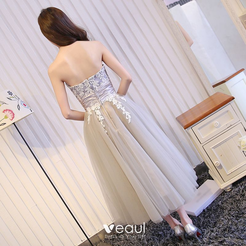 Sexy Grey Graduation Dresses 2017 A-Line / Princess Lace Flower Strapless Backless Short Sleeveless Formal Dresses