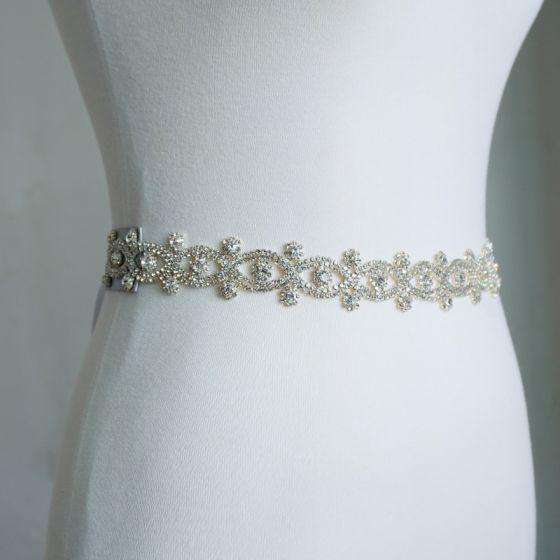 Unik Hvide Bryllup Skærf  2020 Satin Metal Håndlavet Beading Rhinestone Selskabs Galla Accessories
