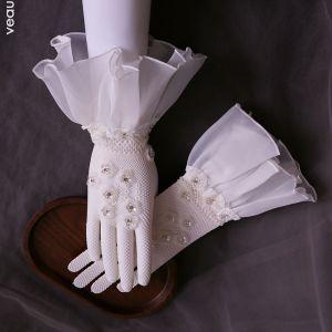 Luxus Hvide Brude Handsker 2020 Tulle Håndlavet Beading Rhinestone Pailletter Galla Bryllup Accessories