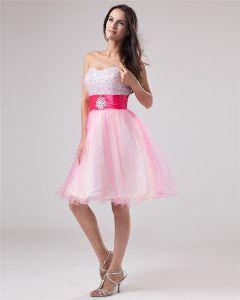 Yarn Beading Sweetheart Knee Length Graduation Dress