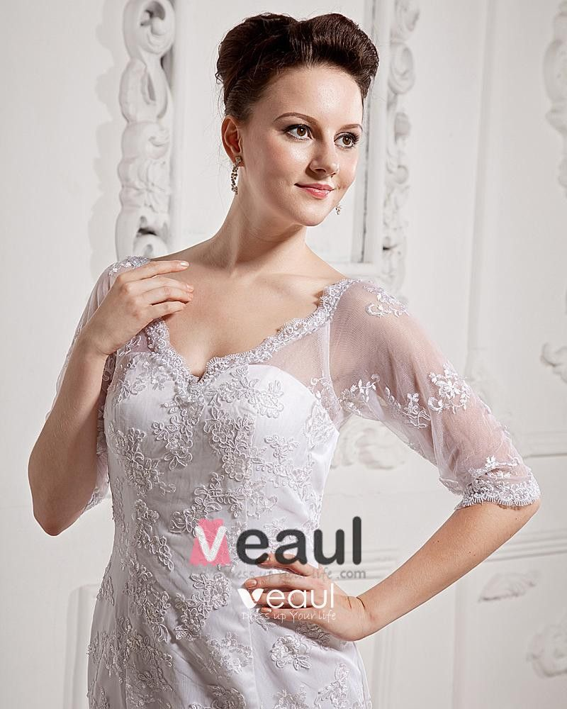 Lace Court Mermaid Bridal Gown Long Sleeve Wedding Dress