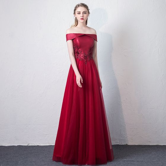 Chic / Beautiful Burgundy Prom Dresses 2018 A-Line / Princess Lace Appliques Beading Off-The-Shoulder Backless Sleeveless Floor-Length / Long Formal Dresses