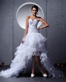 Tulle Beading Handmade Flower Sweetheart Asymmetrical Mini Wedding Dresses