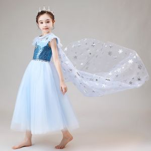 Frozen Costume Sky Blue Flower Girl Dresses With Shawl 2020 Ball Gown See-through Scoop Neck Sleeveless Sequins Rhinestone Ankle Length Ruffle
