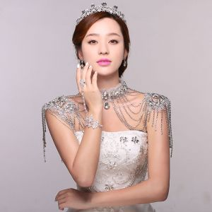 Luxury Rhinestone Tassel Multilayer Crystal Shoulder Chain For Wedding Jewelry