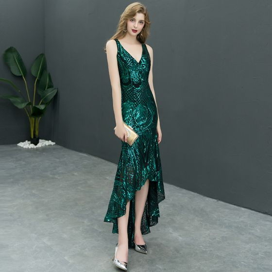 Sexy Dark Green Sequins Evening Dresses  2019 Trumpet / Mermaid V-Neck Sleeveless Asymmetrical Ruffle Backless Formal Dresses