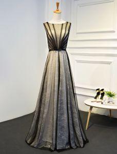 Einzigartige Abendkleider 2017 Schwarz Gestreiften Tüll Bodenlangen Kleid