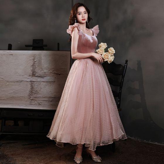 Vintage Suede Rosado Oscuro Vestidos de gala 2021 A-Line / Princess Sin Mangas Sin Espalda Escote Cuadrado Té De Longitud Gala Vestidos Formales