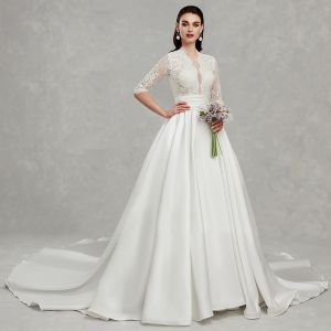 Amazing / Unique Best Ivory Plus Size Wedding Dresses 2020 A-Line / Princess Deep V-Neck 1/2 Sleeves Appliques Backless Beading Sequins Chapel Train Wedding