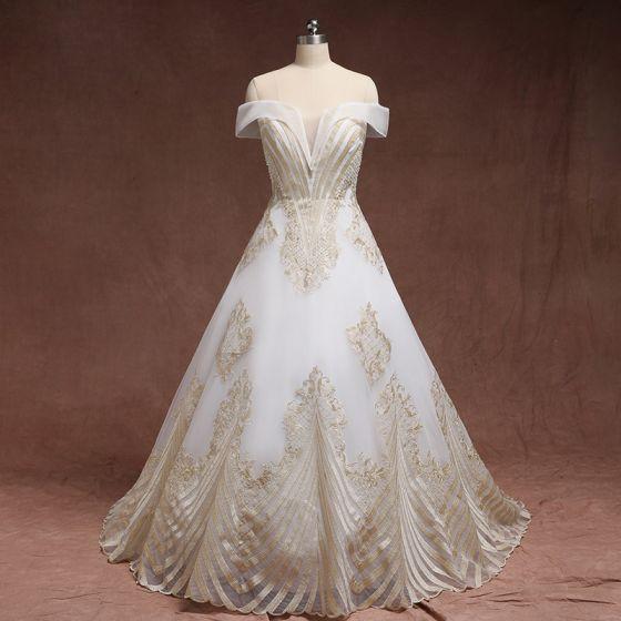 Amazing / Unique Gold White Plus Size Wedding Dresses 2019 A-Line /  Princess Lace Charmeuse Strapless Appliques Backless Beading Handmade Court  Train ...