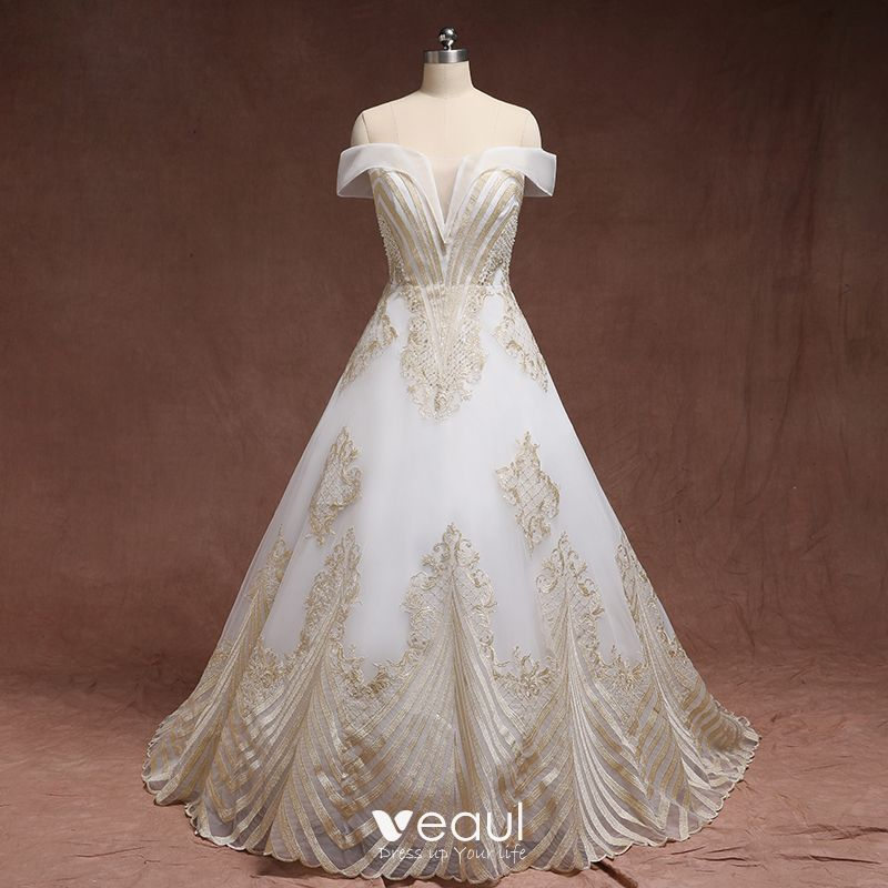 Amazing / Unique Gold White Plus Size Wedding Dresses 2019 A-Line /  Princess Lace Charmeuse Strapless Appliques Backless Beading Handmade Court  Train ...