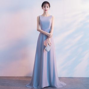 Modest / Simple Pearl Pink Bridesmaid Dresses 2018 A-Line / Princess Bow Scoop Neck Backless Sleeveless Sweep Train Wedding Party Dresses
