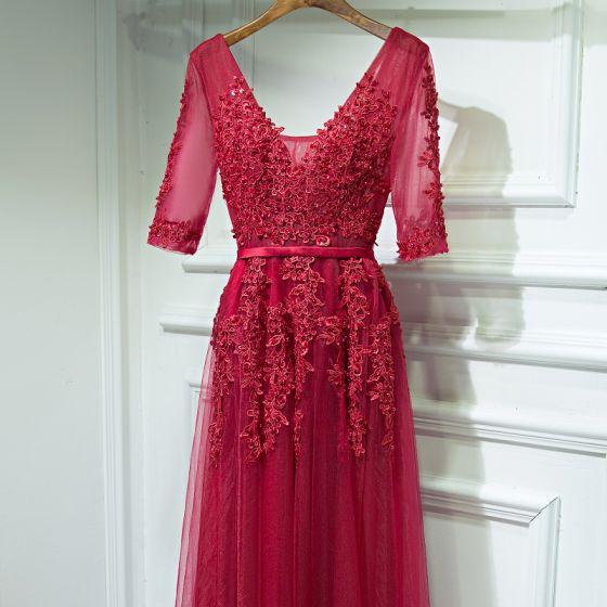 Piękne Czerwone Sukienki Na Bal 2017 Z Koronki Kwiat Frezowanie Bez Pleców V-Szyja 1/2 Rękawy Długie Princessa Sukienki Wizytowe