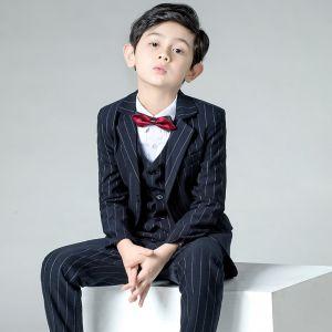 Modest / Simple Burgundy Tie Black Striped Boys Wedding Suits 2019