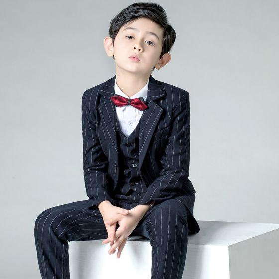 Modest / Simple Burgundy Tie Black Striped Boys Wedding Suits 2019