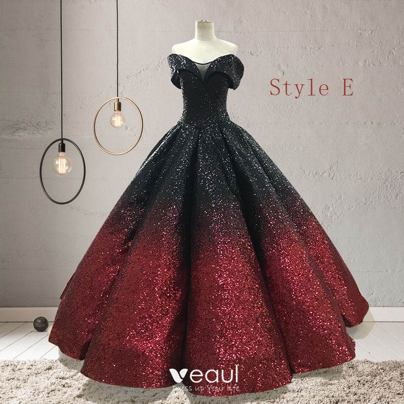 Sparkly Black Red Sequins Prom Dresses