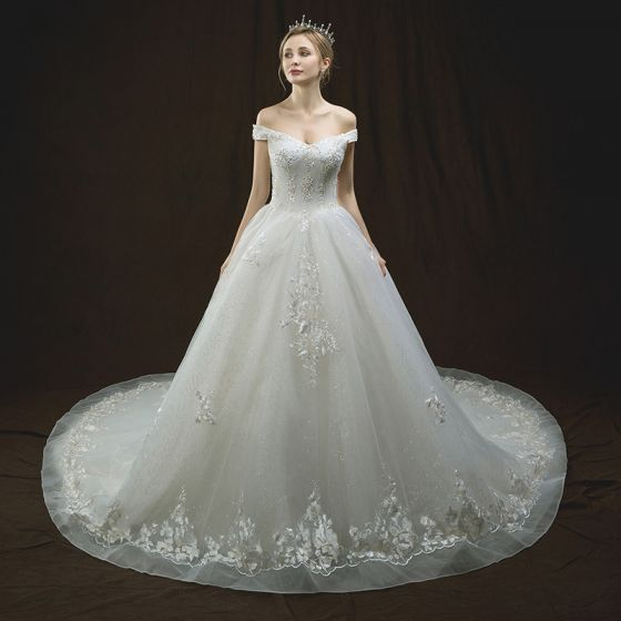 Bling Bling Ivory Wedding Dresses 2018 A-Line / Princess Off-The-Shoulder Short Sleeve Backless Appliques Lace Sequins Beading Glitter Tulle Cathedral Train Ruffle