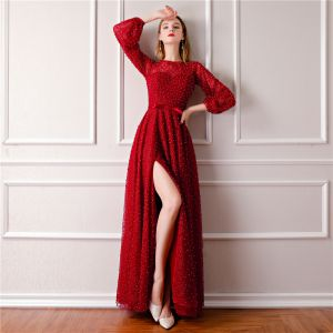 Luxury / Gorgeous Burgundy Evening Dresses  2019 A-Line / Princess Scoop Neck Puffy Long Sleeve Handmade  Beading Pearl Bow Sash Split Front Floor-Length / Long Ruffle Formal Dresses