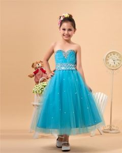 Satin Organza Sewing Beads Flower Girl Dresses
