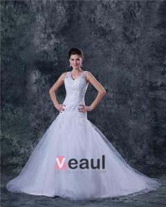Tüll Mit V-ausschnitt Sicke Fegen A-Linie Brautkleider