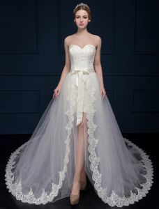 A-line Princess Sweetheart Asymmetrical Lace Wedding Dress