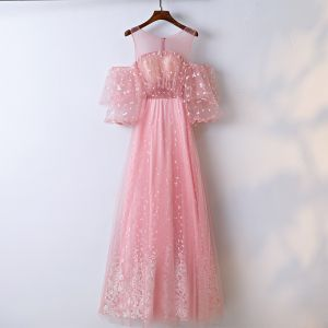 Chic / Belle Rose Bonbon Robe De Bal 2017 Princesse En Dentelle Fleur Encolure Dégagée Manches Courtes Longueur Cheville Promo