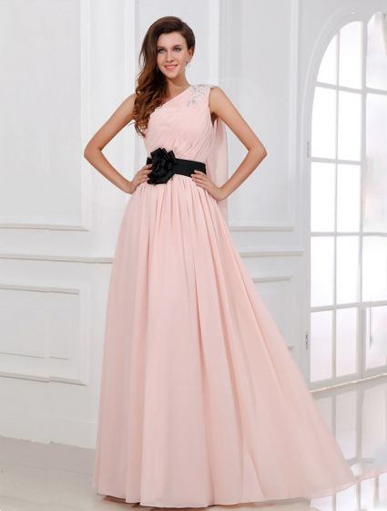 Beautiful Pink Evening Dress One Shoulder Long Formal Dress With Flower Sash