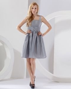 Elegant A-Line Square Knee-length Taffeta Bridesmaid Dress