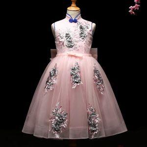 Chic / Belle Rougissant Rose Robe Ceremonie Fille 2017 Robe Boule Appliques Perle Noeud Col Haut Sans Manches Thé Longueur Robe Pour Mariage