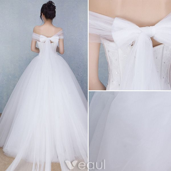 Beautiful Wedding Dresses 2016 Ball Gown Off The Shoulder Long Tulle Bowknot Corset Bridal Gown