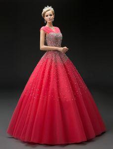 2016 La Mode Robe De Bal En Tulle Robe Rouge Paillettes V-cou