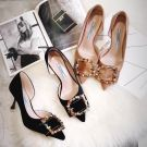 Chic / Beautiful Casual Champagne Womens Shoes 2018 Suede Multi-Colors Rhinestone 7 cm Stiletto Heels Pointed Toe Pumps