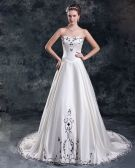 Satin Embroidery Court Train Sweetheart Women A Line Wedding Dress