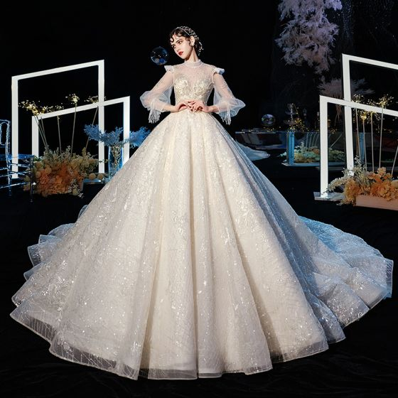 Victorian Style Champagne See-through Wedding Dresses 2020 Ball Gown High Neck Puffy Long Sleeve Backless Glitter Tulle Appliques Lace Beading Cathedral Train Ruffle