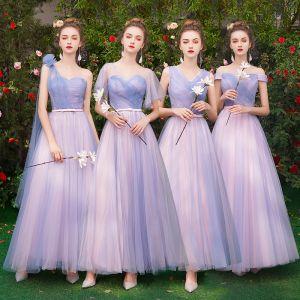 Niedrogie Elegancka Lawenda Sukienki Dla Druhen 2019 Princessa Kokarda Szarfa Długie Wzburzyć Bez Pleców Sukienki Na Wesele