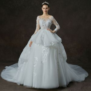 Illusion White See-through Wedding Dresses 2019 Ball Gown Scoop Neck Long Sleeve Backless Appliques Lace Pearl Beading Cathedral Train Cascading Ruffles