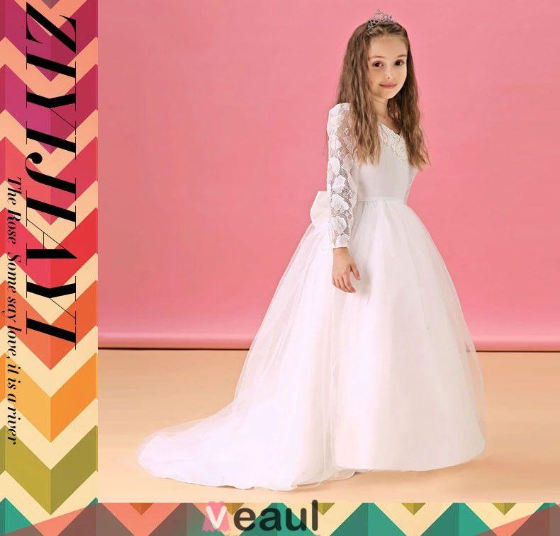 Witte Bloem Meisje Jurk Lange Trailing Prinses Jurk