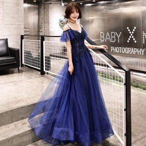 Elegant Navy Blue Evening Dresses  2019 A-Line / Princess Spaghetti Straps Sleeveless Beading Floor-Length / Long Ruffle Backless Formal Dresses