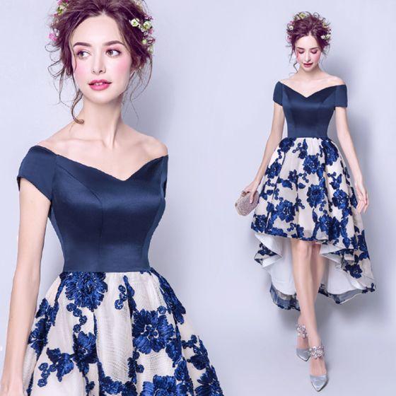Piękne Granatowe 2017 Sukienki Koktajlowe Tiulowe Haftowane Koronki Koktajlowe Sukienki Wizytowe