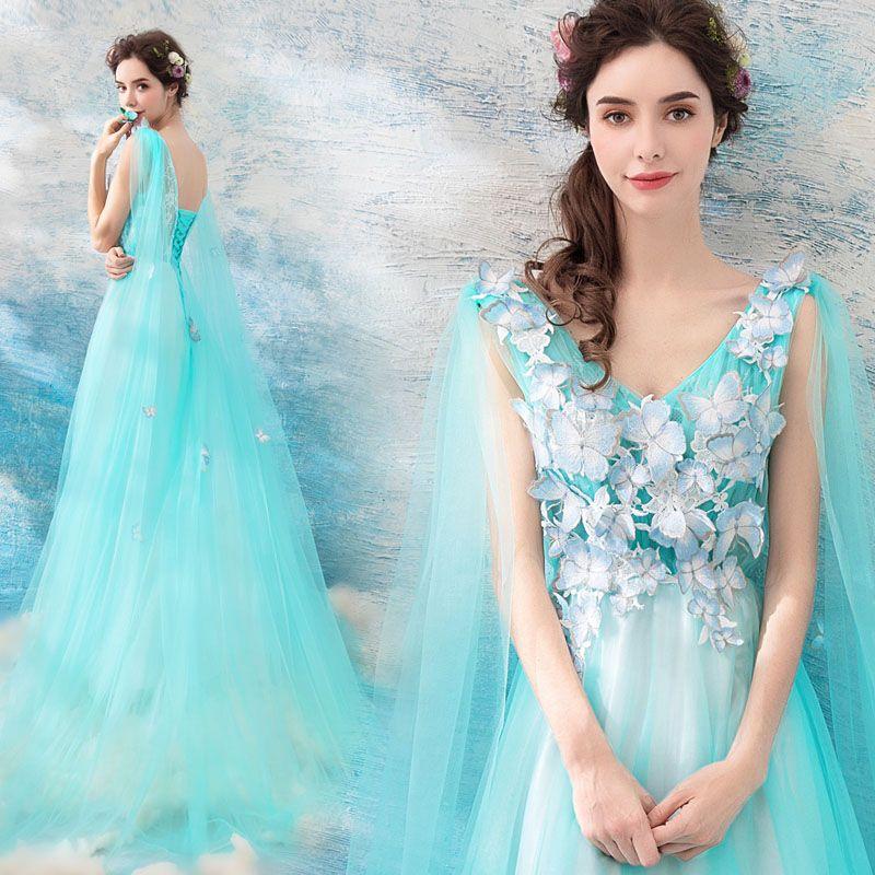 Schöne Blau Abendkleider 2018 A Linie V-Ausschnitt Ärmellos Applikationen Schmetterling Watteau-falte Rüschen Rückenfreies Festliche Kleider