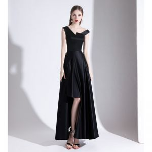 Amazing / Unique Black Evening Dresses  2020 A-Line / Princess V-Neck Sleeveless Backless Asymmetrical Formal Dresses