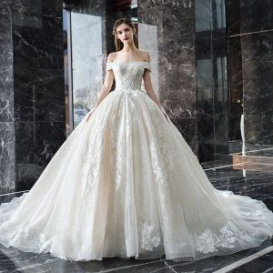 Luxury / Gorgeous Champagne Wedding Dresses 2019 Ball Gown Off-The-Shoulder Short Sleeve Backless Appliques Lace Sequins Beading Pearl Glitter Tulle Cathedral Train Ruffle