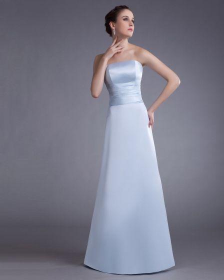 Satin Strapless Floor Length Bridesmaid Dress