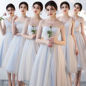 Affordable Sky Blue Bridesmaid Dresses 2018 A-Line / Princess Bow Sash Tea-length Ruffle Backless Wedding Party Dresses