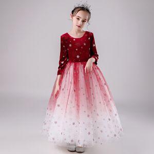 Elegante Rot Farbverlauf Wildleder Winter Blumenmädchenkleider 2020 Ballkleid Rundhalsausschnitt 3/4 Ärmel Glanz Star Lange Rüschen